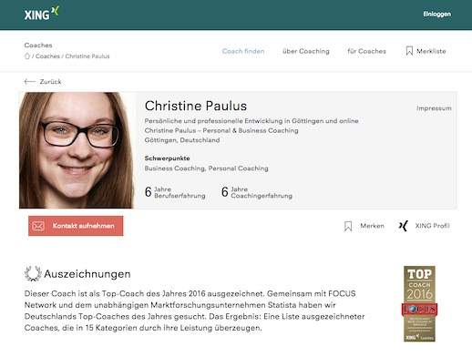 Xing Coach Profil Christine Paulus Screenshot